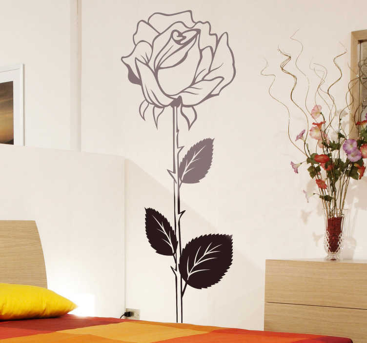 TenStickers. Rose Illustration Decal. Decals - Floral design of a thorn rose. Ideal elegant touch in any room. Available in various sizes and colours.