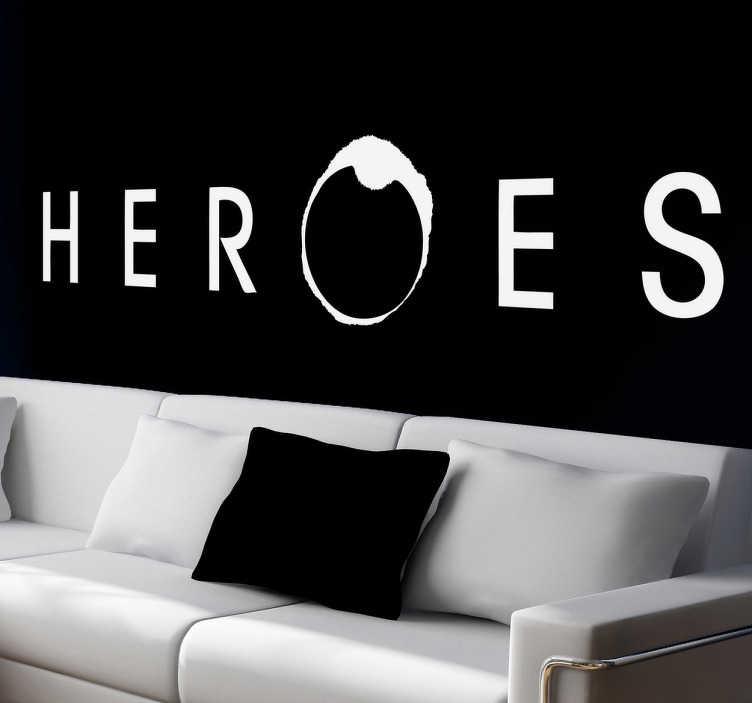 TenVinilo. Vinilo decorativo logo Heroes. Característico logotipo adhesivo de una famosa serie de ficción que gente con superpoderes.
