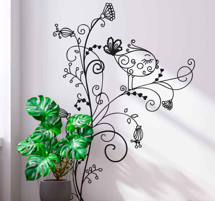 TenStickers. Floral Bird Curl Wall Sticker. Wall Stickers - Elegant floral design of a song bird. Ideal for decorating the home. Available in various colours and sizes.