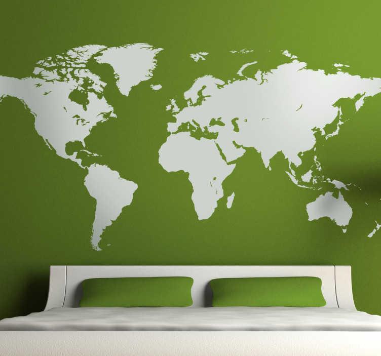 TenStickers. Nalepka stenske svetovne karte. Klasična enobarvna svetovna mapa nalepke, ki je idealna za dekoriranje katere koli sobe v vašem domu na izviren način.