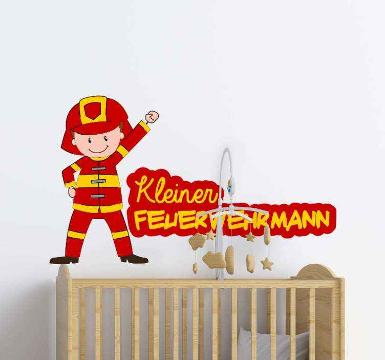 Small Firefighter Kid S Bedroom Wall Sticker Tenstickers
