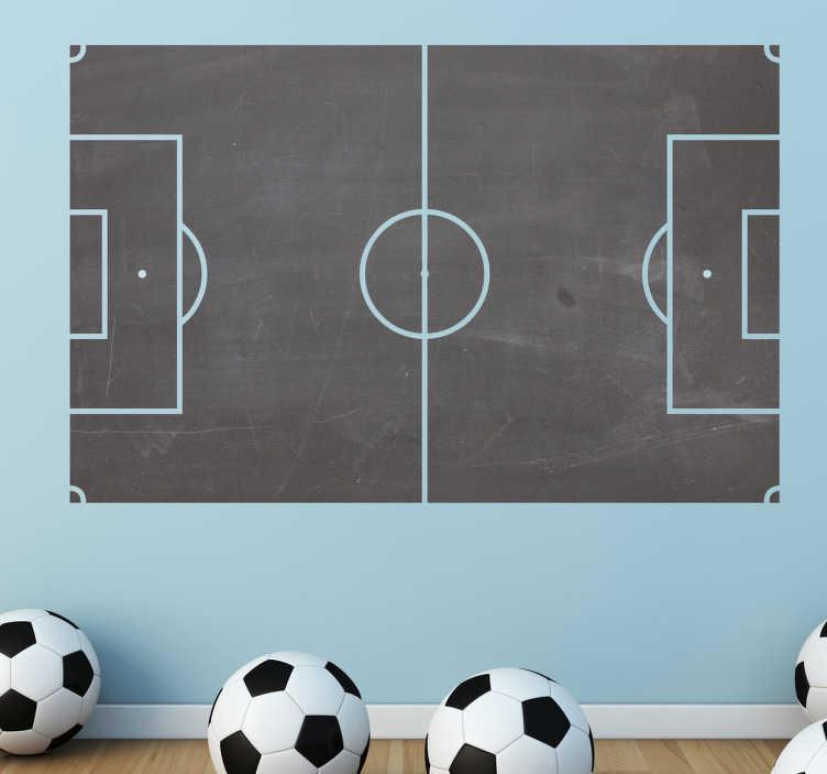 TenStickers. Naklejka tablica kredowa boisko do piłki nożnej. Naklejka dekoracyjna typu tablica kredowa boisko do piłki nożnej. Zaaplikuj na ścianie w chłopięcym pokoju i pozwól dzieciom rysować!