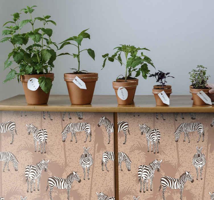 TENSTICKERS. 家具用のシマウマとヤシの木の茶色のデカール. 家の家具スペースの装飾のためのゼブラアニマルプリントの素敵な家具ステッカーデザイン。それは自己接着性で、耐久性があり、適用が簡単で、取り外し可能です。