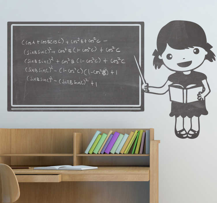 TenStickers. Autocolante decorativo menina pequena quadro preto. Autocolante decorativo ilustrando uma menina pequena a ensinar num quadro preto, onde pode escrever o que quiser, com giz!