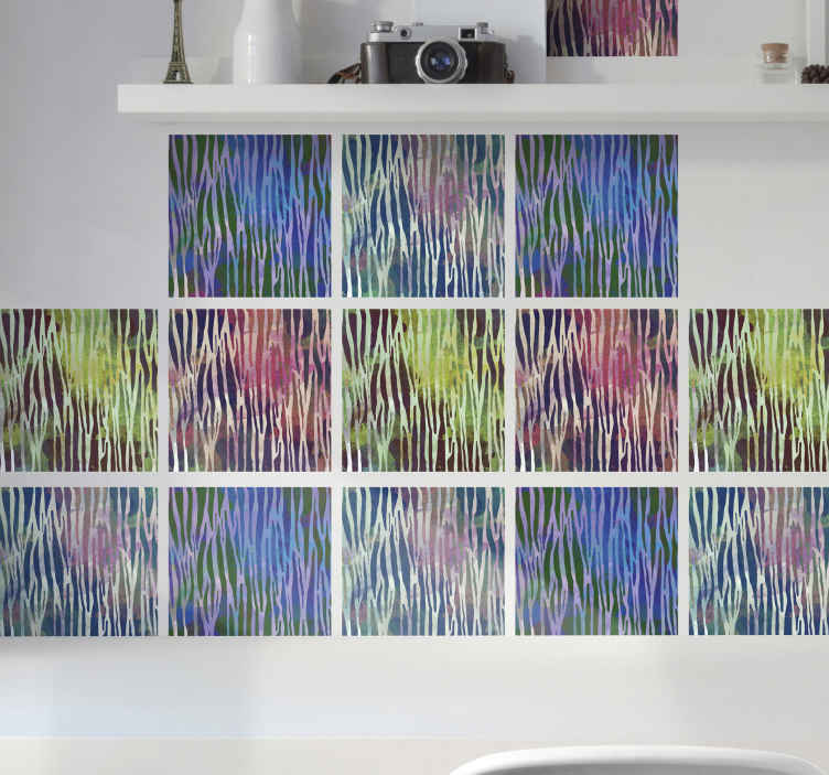 TenVinilo. Azulejos vinílicos textura cebra abstracta. Azulejos vinílicos de cebra abstracto de colores para decorar la cocina, el salón y el dormitorio. Elige pack y medidas ¡Envío exprés!