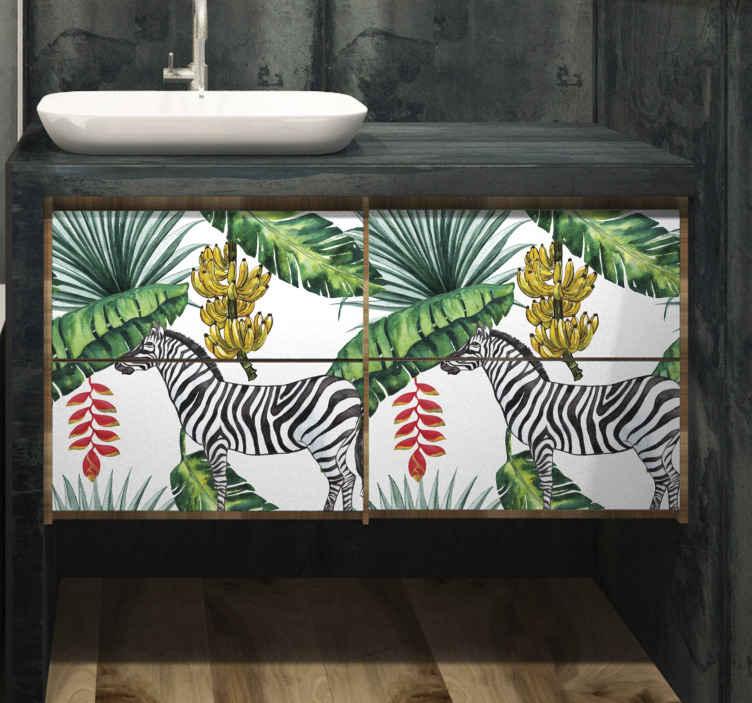 TENSTICKERS. 家具用ネイチャーパターンデカール. ヤシの葉、バナナの木、シマウマのイラストデザインの装飾家具ステッカー。家の家具スペースを飾るのに適しています。