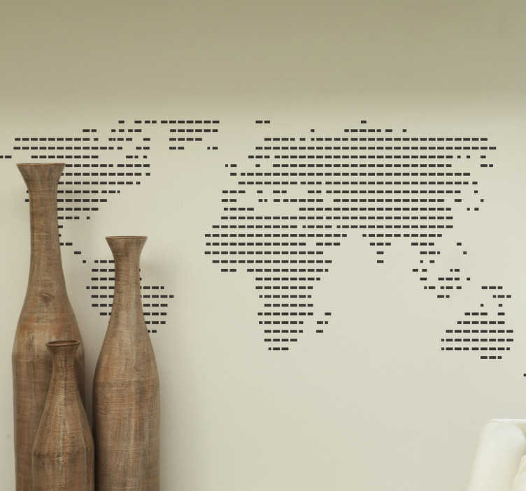 Sticker wereldkaart bolletjes