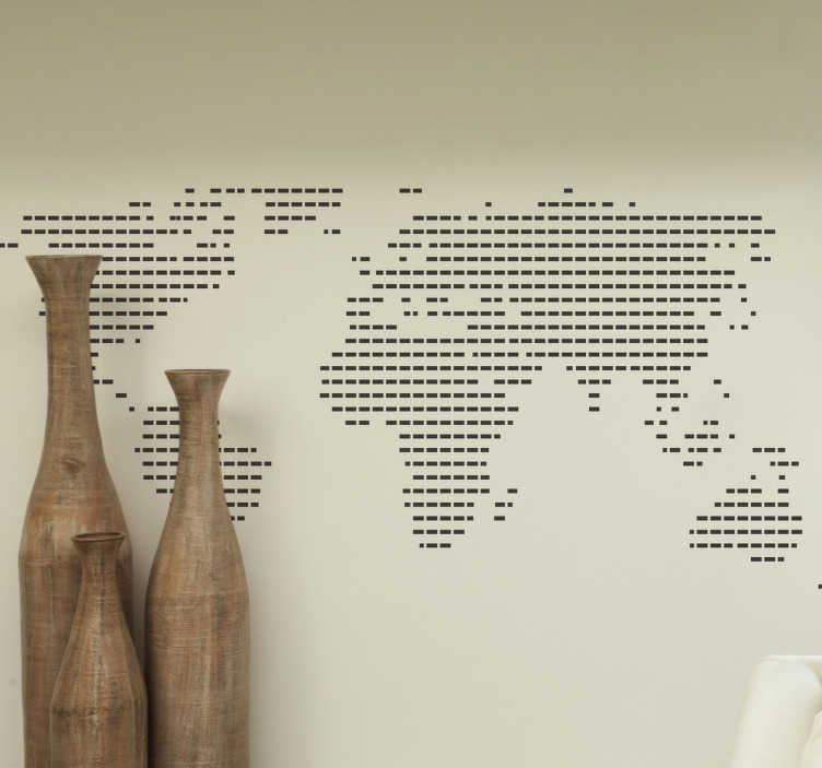TenStickers. 衬有世界地图贴纸. 我们收集的线条贴纸上有一个带衬里的世界地图贴花。我们的家居贴纸和办公室贴纸有多种不同尺寸供您选择。