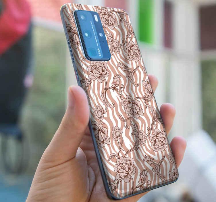 TENSTICKERS. ゼブラプリントと観賞用花コーラルファーウェイデカール. 素敵な茶色のゼブラプリントと花のコーラルファーウェイステッカー。 iphoneとsamsungのステッカーデザインもあります。それは耐久性があり、しわになりません。