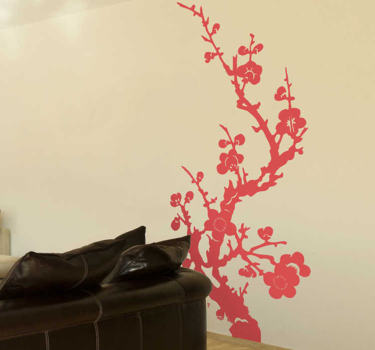 TenStickers. Wandtattoo orientalische Blumenranke. Dekorieren Sie Ihr Wohnzimmer mit dieser schönen orientalischen Blumenranke als Wandtattoo, die an einen Kirschbaum erinnert.
