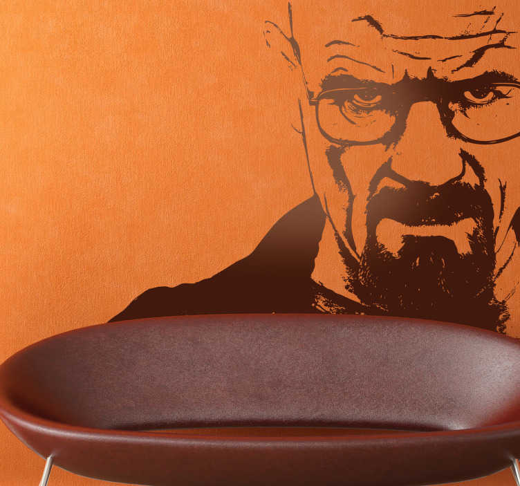 TenVinilo. Vinilo decorativo retrato Breaking Bad. Adhesivo del protagonista de la premiada serie americana. Pon un Heisenberg en casa.