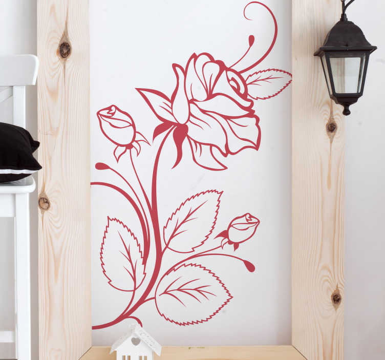 TenStickers. Naklejka na ścianę kwitnący kwiat róży. Ładna naklejka na ścianę, która jest dostępna w różnych kolorach. Obrazek przedstawia kwitnący kwiat róży.