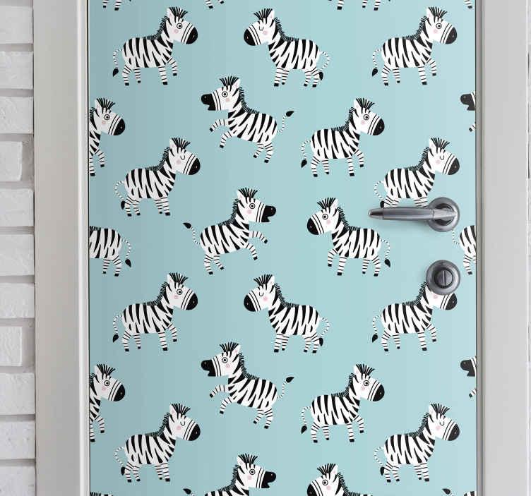 TENSTICKERS. 子供のためのかわいいシマウマガラスドアステッカー. この驚くべき小さなかわいいゼブラドアステッカーは、子供部屋のドアスペースに飾ることができます。適用が簡単で耐久性があります。