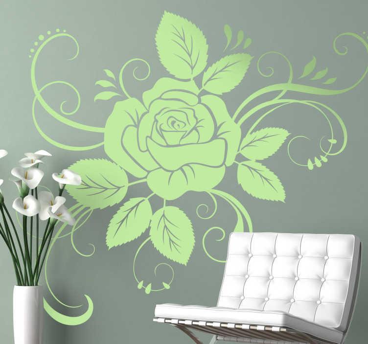 Autocollant mural floral rose détaillée