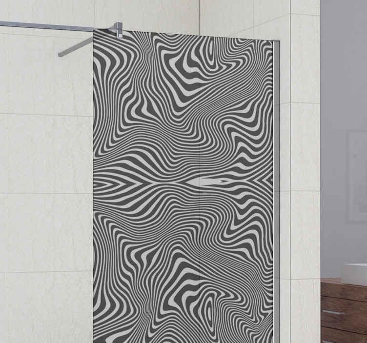 TENSTICKERS. ゼブラ3dエフェクトシャワーステッカー. シャワードアのドアを飾るための壮大な3d効果シャワースクリーンステッカー。反射効果のある白黒ゼブラパターンのデザイン。