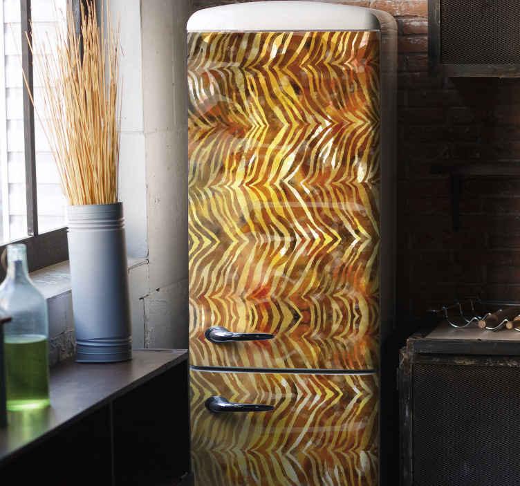 TENSTICKERS. ゼブラ水彩テクスチャ冷蔵庫デカール. オリジナルのゼブラ水彩テクスチャ冷蔵庫ステッカーを使用すると、冷蔵庫の外観を新しくて素敵な外観に変えることができます。