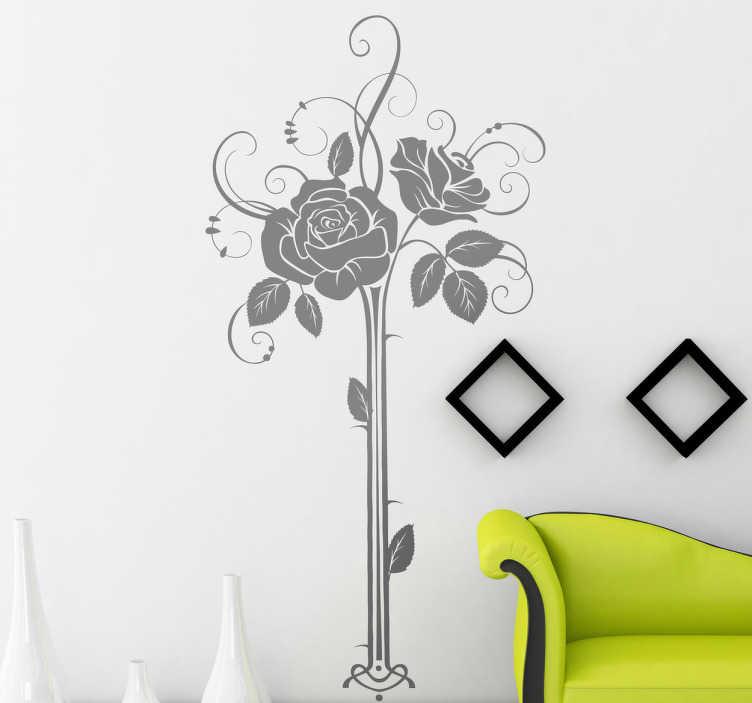 TenStickers. Sticker decoratieve rozen. Een leuke muursticker met hierop een leuke voorstelling van drie rozen. Bepaal zelf de gewenste kleur en grootte voor deze wanddecoratie.