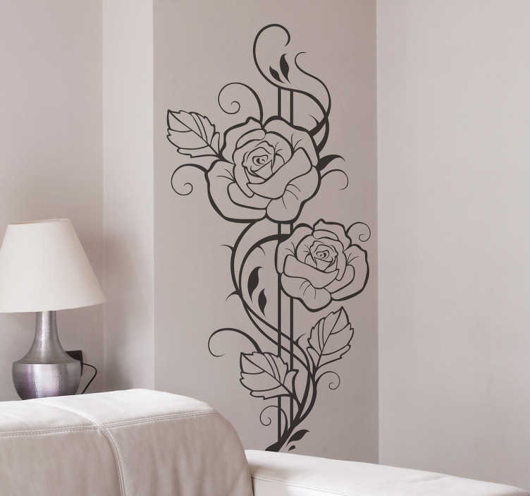 TenStickers. Modern Roses Decal. Decals-Elegant floral design to decorate your home or business. Art decor to lighten up any room.