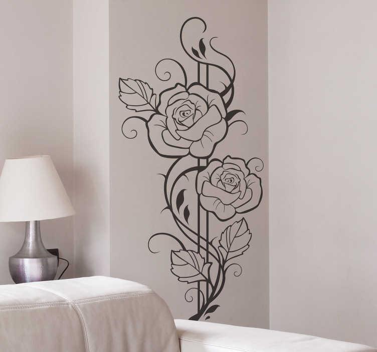 TenStickers. autocollant mural floral roses modernistes. Stickers mural représentant deux roses illustrées dans le style du XIXe siècle et Art Déco.