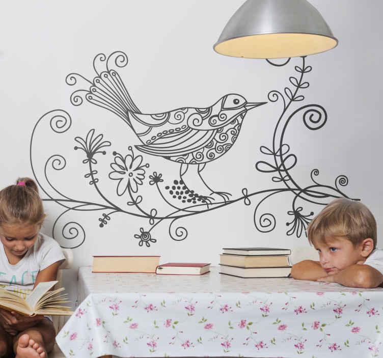 TenStickers. 꽃 nightingdale 데칼. 조류 decals- 주위 꽃 디자인으로 지점에 휴식하는 나이팅게일 조류의 아름 다운 그림. 모든 방에서 멋지게 보이는 새벽 벽 아트 스티커.