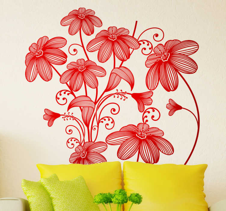 TenStickers. Seven Sketch Floral Decal. Floral - An elegant floral illustration of wild flowers. A distinctive feature in any room that gives a blossoming spring touch.