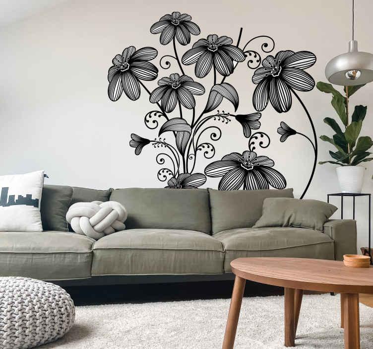 TenStickers. 七个素描花卉贴花. 花卉-野花的典雅的花卉例证。任何房间都具有鲜明的特色,给人以春天般的感觉。