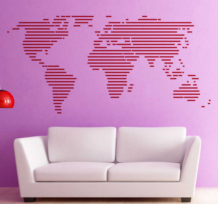 Sticker Wereldkaart Lijnen Tenstickers