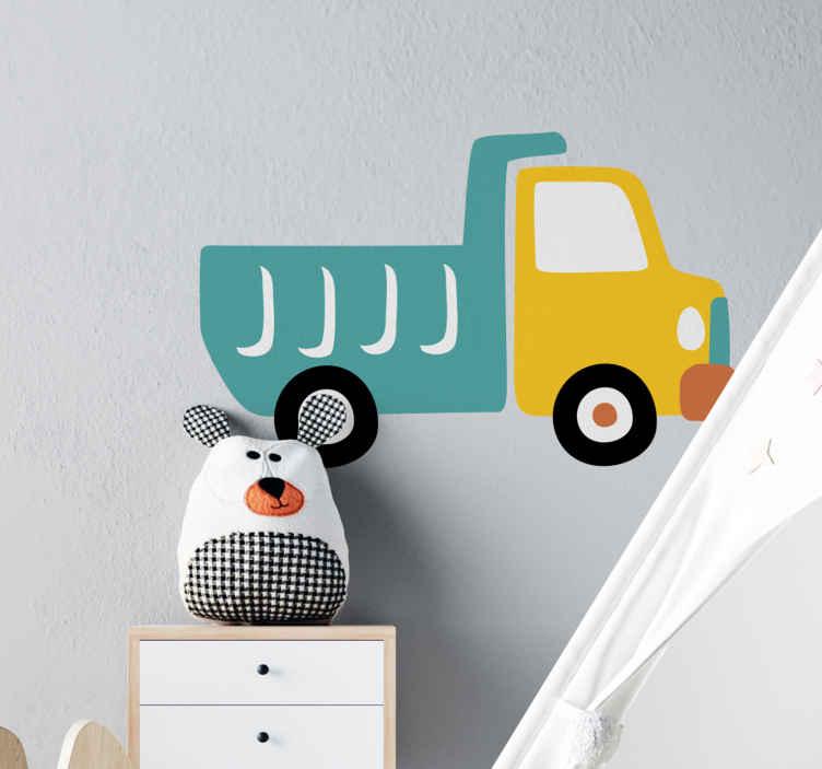 TenVinilo. Vinilo para niños camión azul y amarillo. Vinilo para niños de camión de construcción de color amarillo y turquesa para el dormitorio de los niños. Es fácil de aplicar, duradero y autoadhesivo.