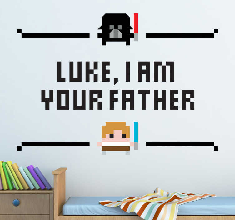 "TenStickers. Sticker Luke I am your father. Un sticker mural inspiré de la célèbre saga cinématographique Star Wars ""Luke, I am your father"", le tout avec un style pixélisé."