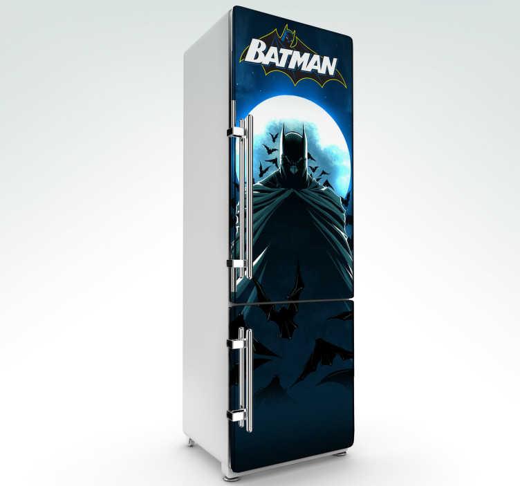 TenVinilo. Vinilo decorativo Batman nevera. Personaliza tu nevera con un adhesivo del alter ego justiciero de Bruce Wayne.