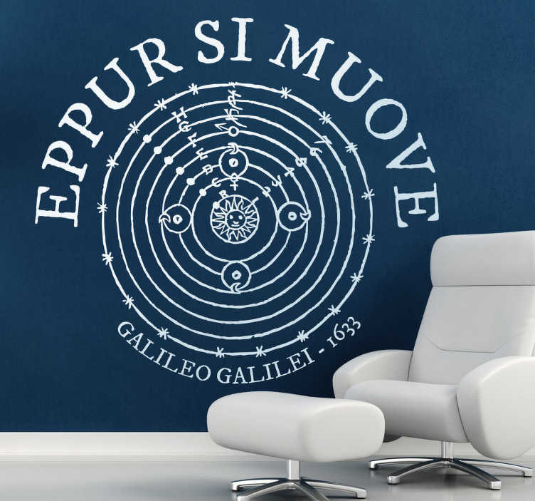 "TenStickers. Eppur Si Muove Latin Text Sticker. Decorative sticker that says ""And yet it moves"", a phrase that the Italian mathematician and philosopher Galileo Galilei said to the inquisitors."