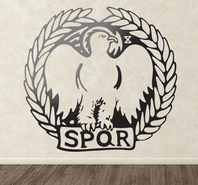 TenStickers. Autocollant mural légion romaine. Si vous êtes passionnés de la Rome Antique et de son histoire, ce stickers représentant l'emblème de la légion romaine vous évoquera beaucoup d'émotions.