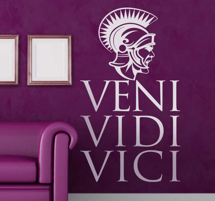 TenStickers. Veni Vidi Vici Decorative Sticker. Decorative decal with the famous phrase in Latin by Julius Caesar. If you love the history behind ancient Rome then this Roman wall sticker is perfect for you.I