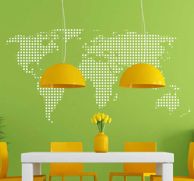 TenStickers. Square Dotted World Map Sticker. World map wall sticker different from the rest. Personalise your bedroom, living room, dining room and more with this subtle but timelessly stylish world map decal in the style of many dots making up the continents that make up the Earth.