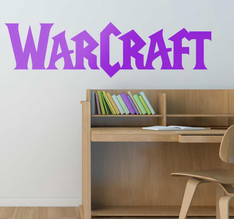 TenVinilo. Vinilo decorativo logo Warcraft. Logotipo adhesivo del exitoso videojuego de rol multijugador para ordenador. Pegatinas de videojuegos, ideales para un cuarto juvenil.
