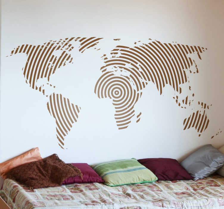 TenStickers. Lined World Map Wall Sticker. A creative decal illustrating a world map from our exclusive collection of line stickers to give your home a personalised touch.