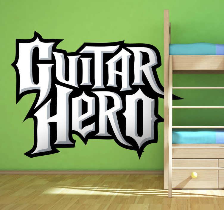 TenVinilo. Vinilo decorativo logo Guitar hero. Adhesivo de diseño inspirado en el rock duro de un exitoso videojuego musical.