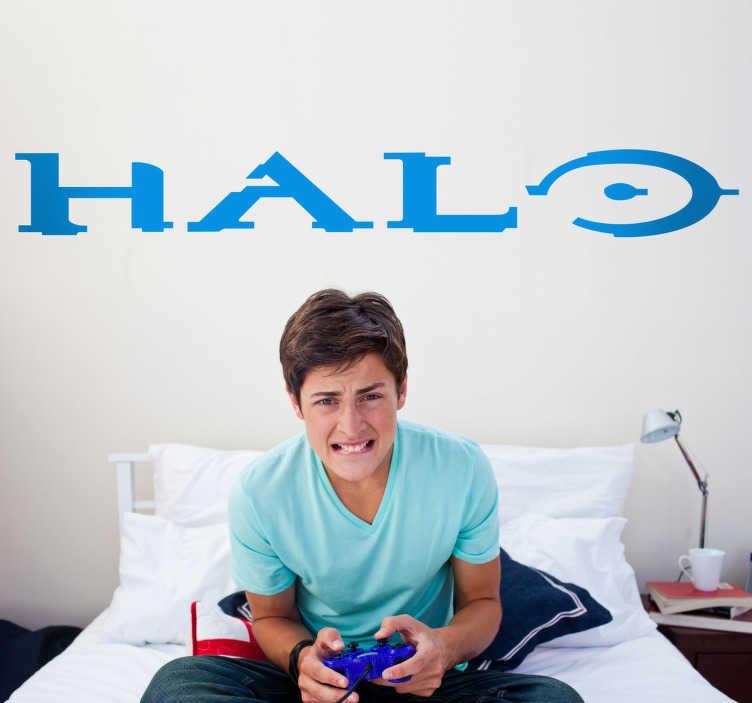 TenStickers. Sticker logo Halo. Stickers pour enfant illustrant le logo du jeu vidéo pour Xbox et PC à succès HALO.Super idée déco pour la chambre d'enfant et tout autre espace de jeux.