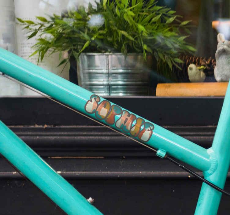 Image of Adesivo bici Nome personalizzato di colori diversi per bici