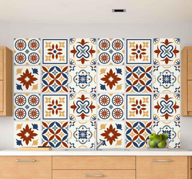TENSTICKERS. サンティオーニセメントタイルタイル転送. サントリーニタイルのウォールステッカー。この装飾品はあなたのキッチンやバスルームによく似合います。高品質のビニール製。