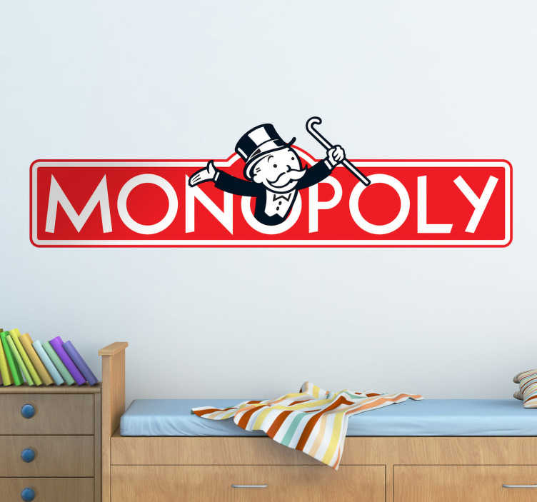 TenStickers. Monopoly Wall Sticker. Decorate your home with this fantastic Monopoly themed wall sticker! Easy to apply and remove. Extremely long-lasting material.