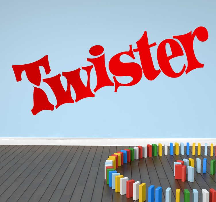 TenVinilo. Vinilo decorativo Twister. Característico logotipo del popular juego familiar. Un adhesivo para los más nostálgicos.