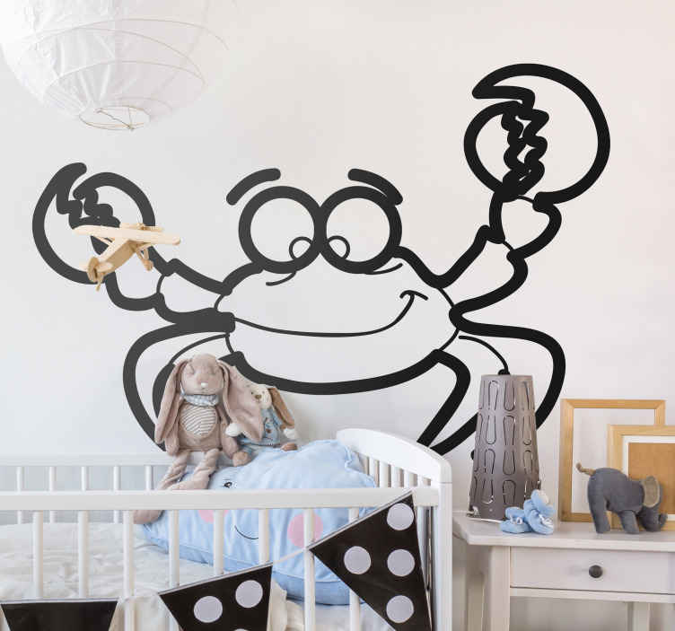 TenStickers. Kids Crab Wall Sticker. Kids Wall Stickers-Fun and playful illustration of a crab. Cheerful design ideal for decorating areas for children.