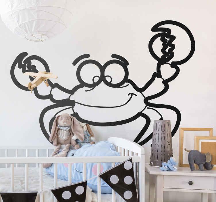 TenStickers. Autocolante infantil caranguejo. Autocolante infantil com um caranguejo sorridente. Ideal para a decoração do quarto infantil do teu filho.