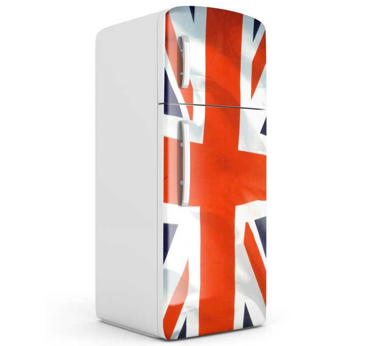 """TenStickers. Sticker frigo drapeau Royaume-Uni. Personnalisez votre réfrigérateur aux couleurs du Royaume-Uni avec ce sticker original de drapeau pour votre frigo, pour une cuisine """"english style""""."""