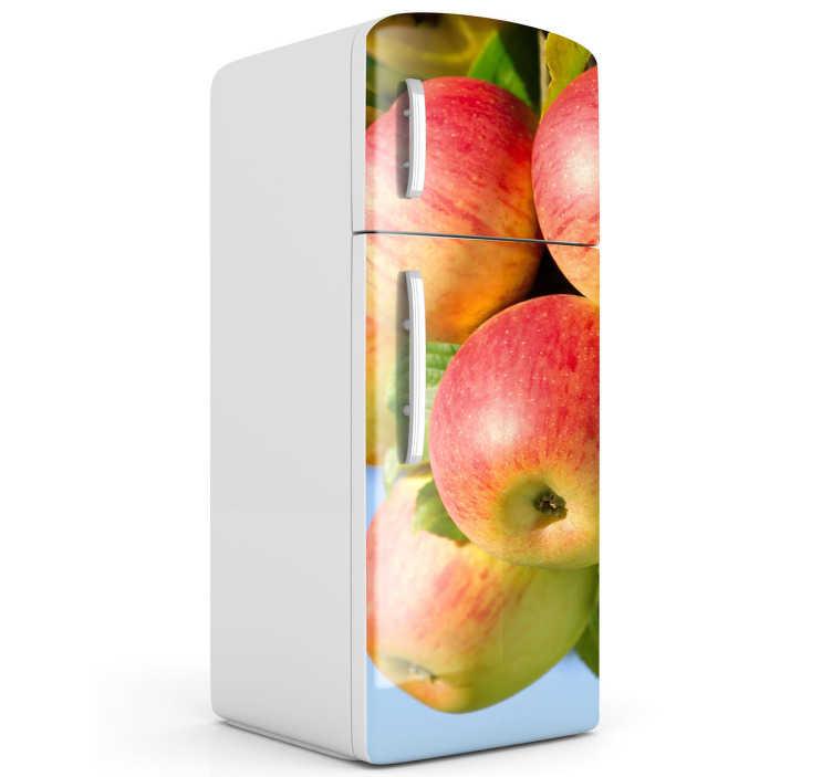 TenStickers. Kühlschrank Aufkleber Äpfel. Kühlschrank Aufkleber für die Küche. Das Design zeigt frische, am Baum hängende Äpfel