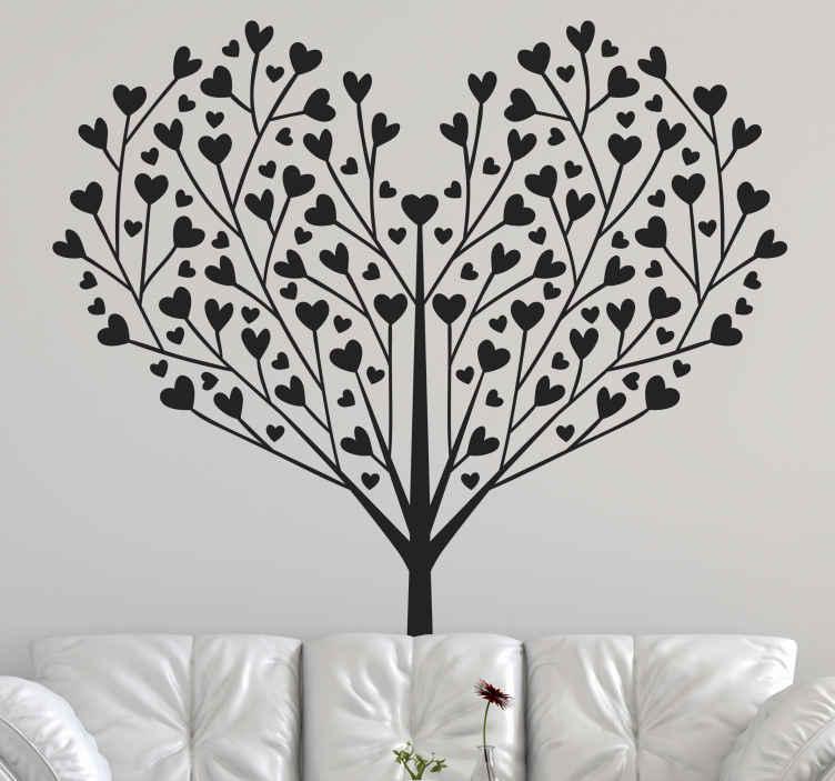 TENSTICKERS. ハートの枝の木の壁のステッカー. ハートの形に枝が形成された木のイラストウォールアートデカールデザイン。適用が簡単で、耐久性があり、さまざまな色のオプションで利用できます。