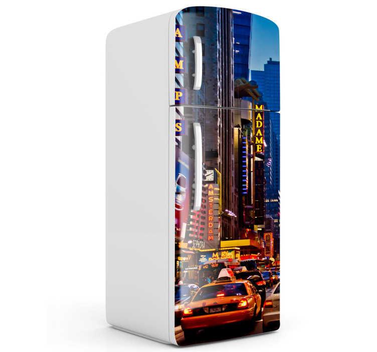 TenStickers. Sticker ijskast Times Square. Deze ijskaststicker omtrent Times Square in de avonduren. Prachtige decoratie voor grote fans van New York!