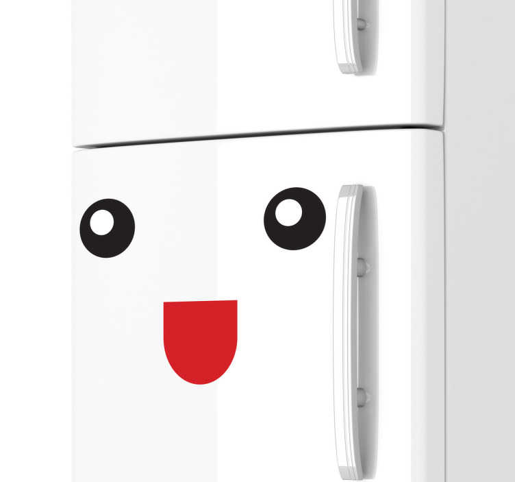 TENSTICKERS. 幸せな笑顔の冷蔵庫のステッカー. 面白い壁のステッカーのコレクションからこのシンプルでユニークなデザインであなたの冷蔵庫をカスタマイズしてください。あなたの家にユーモアを感じてください。誰もが愛する、この冷蔵庫のデカールであなたの冷蔵庫を変身させてください!