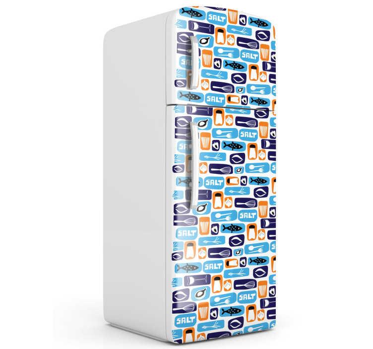 TenStickers. Sticker frigo motifs cuisine. Adhésif à motifs faisant référence à l'univers de la cuisine.*Indiquez-nous les dimensions de votre frigo pour adapter le stickers.